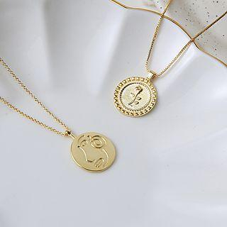 Copper Embossed Disc Pendant Necklace