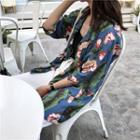 Floral Print Sleeveless Top / Elbow-sleeve Shirt