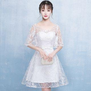 Elbow-sleeve Lace Short Prom Dress