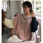 Color Panel Rib-knit Sweater