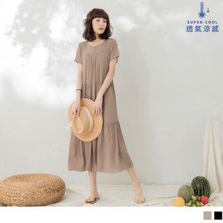 Short Sleeve Layered Chiffon Dress