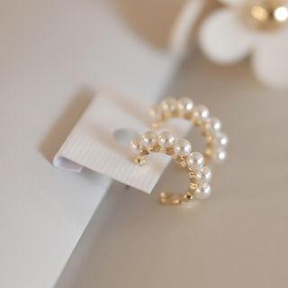 Faux-pearl Hoop Earrings Gold - One Size