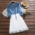 Mock Two-piece Long-sleeve Sheer Panel A-line Denim Dress