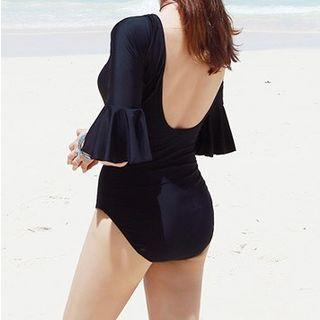 Elbow-sleeve Open Back Swimsuit
