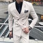 Set: Pocketed Blazer + Vest + Dress Pants