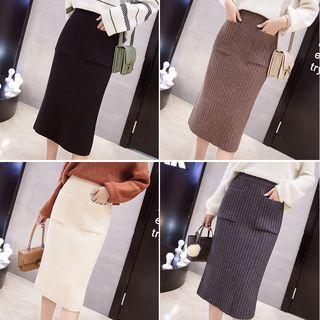 Midi Rib-knit Skirt