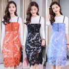 Set: Long Sleeve T-shirt Dress + Spaghetti Strap Lace Dress