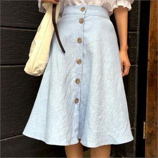 Button-front A-line Linen Skirt