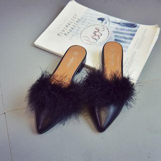 Furry Pointed Mules