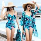 Set: Print Swimsuit + Beach Cover-up