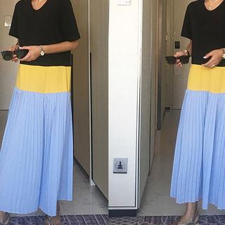 Color-block Pleated-panel Maxi Dress