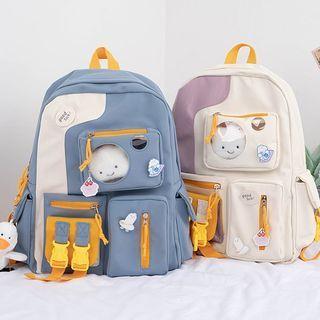 Pvc Panel Buckled Nylon Backpack