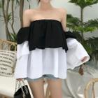 Color-block Off-shoulder Top As Shown In Figure - One Size