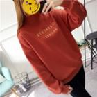 Letter Embroidered Mock-neck Pullover