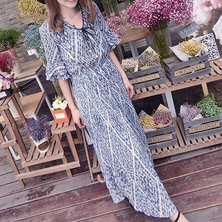 Elbow-sleeve Patterned Maxi Dress