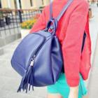 Faux-leather Tasseled Backpack