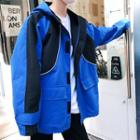 Couple Matching Hooded Colored Panel Zip Jacket