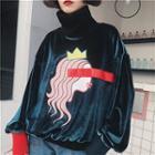 Printed High Neck Velvet Pullover