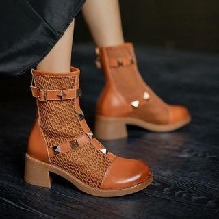 Studded Mesh Panel Chunky Heel Short Boots