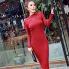 Studded Knit Sheath Midi Dress