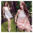 Faux Pearl Feather Embroidered Sleeveless Dress