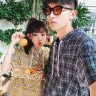 Couple Matching Short-sleeve Plaid Hooded Top