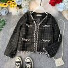 Cropped Plaid Tweed Jacket