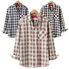 Letter Embroidered Gingham Shirt