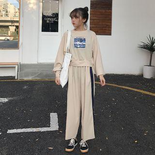 Set: Lettering Top + Wide-leg Pants