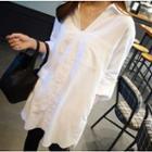 Plain V-neck Long Shirt