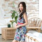 Floral-patterned Mock Two-piece Dress