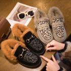 Furry-trim Platform Loafers