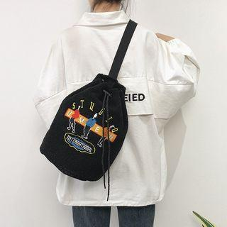 Embroidered Fleece Drawstring Backpack