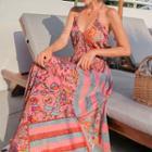 Printed Open Back Midi Halter Dress