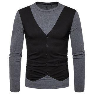 Mock-two-piece Long-sleeve Top