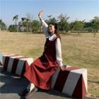 Collared Long-sleeve Shirt + Long Pinafore Dress
