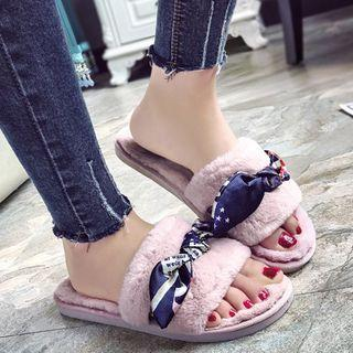 Bow Accent Furry Slippers