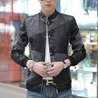 Faux Leather Denim Jacket