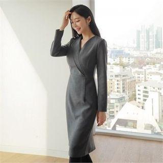 V-neck Pintuck-front Dress