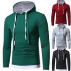 Contrast Hem Hooded Pullover