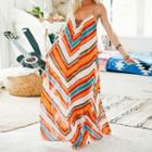 Chevron Patterned Sleeveless Maxi Dress