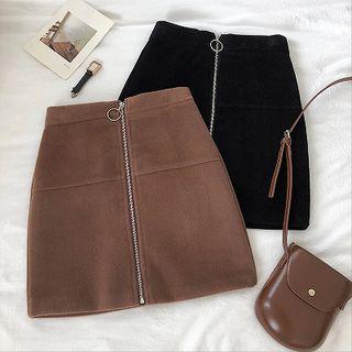 Plain Zip Acrylic High-waist Skirt