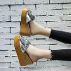 Sequined Bow Slide Platform Wedge Sandals