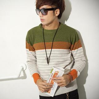 Color-block Striped Sweater