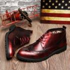 Genuine-leather Wing-tip High-top Oxfords