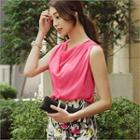 Sleeveless Drape Chiffon Blouse