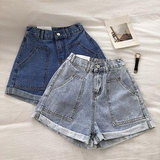 Double Pocket High-waist Roll-up Denim Shorts