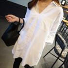 Roll-up Sleeve V-neck Long Blouse