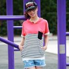 Short Sleeves Striped Panel Top