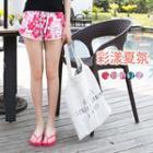 Drawstring Floral Print Beach Shorts